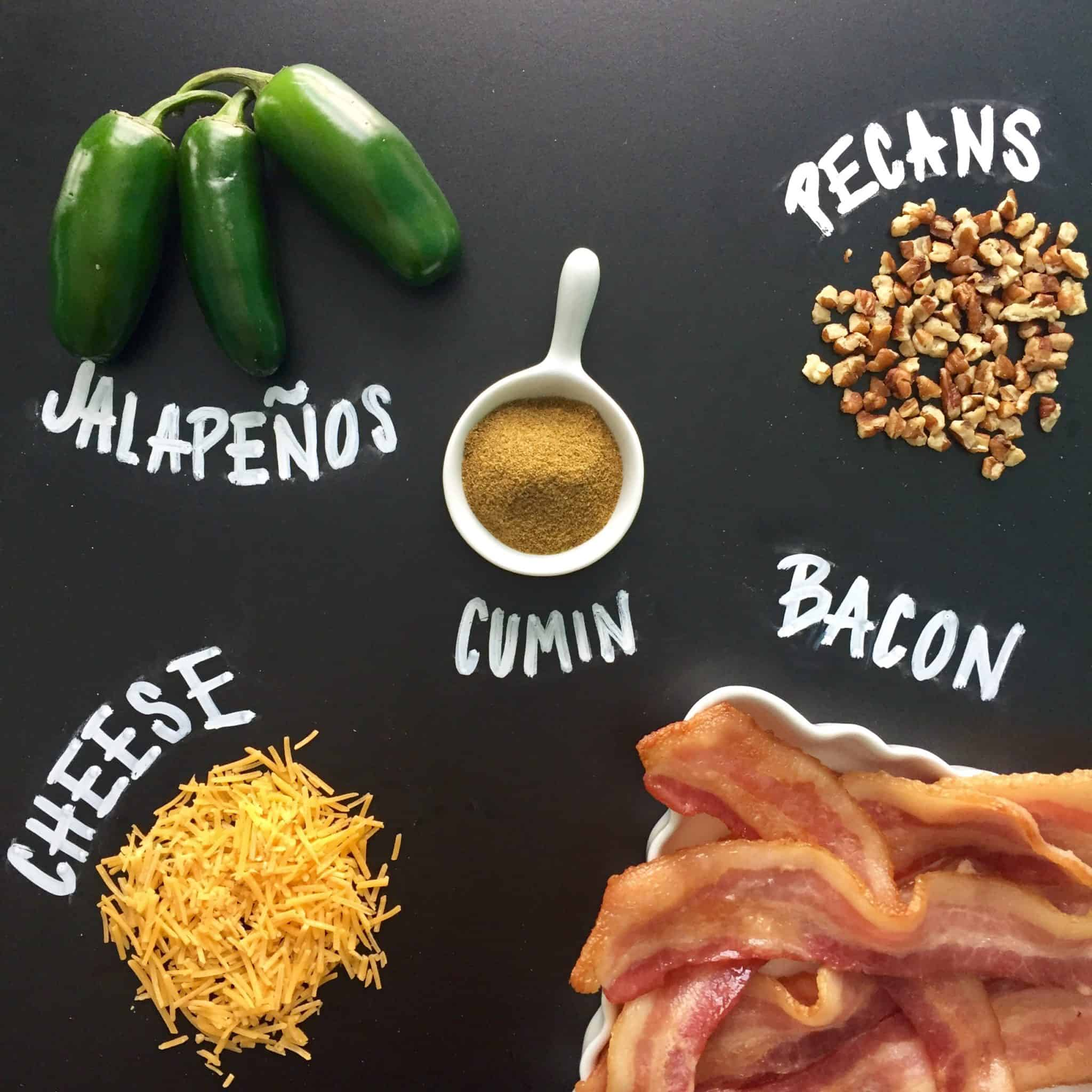 jalapeno bacon cheese ball ingredients with names written on chalkboard