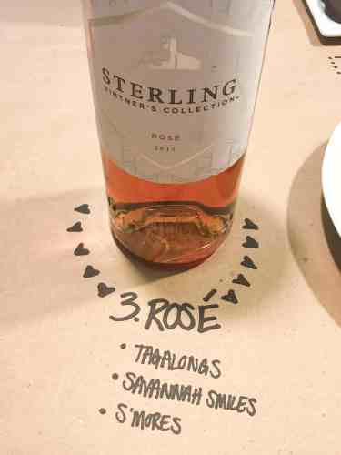 bottle of rosé on brown paper with cookie pairings written underneath