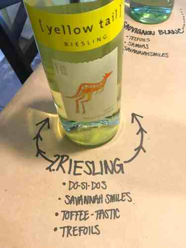 bottle of riesling on brown paper with cookie pairings written underneath