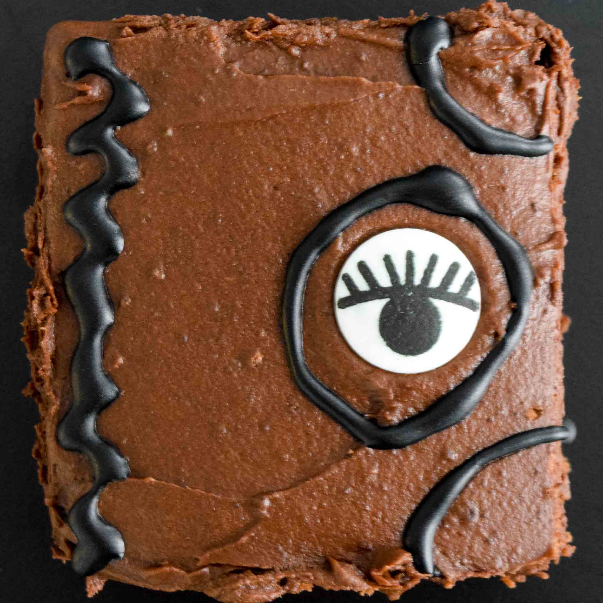 Brownie decorated like Hocus Pocus Spell book up close view