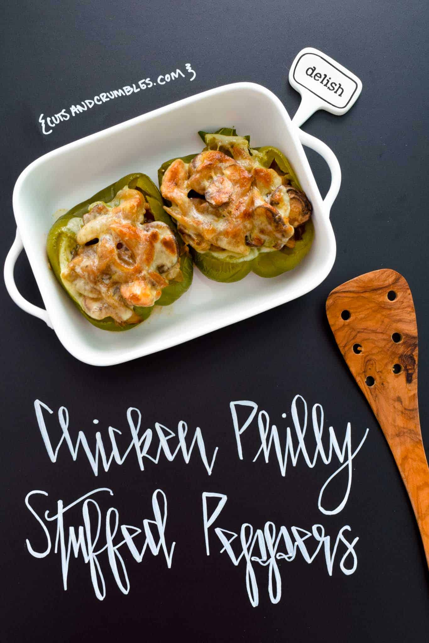 Chicken Philly Stuffed Peppers with title written on chalkboard