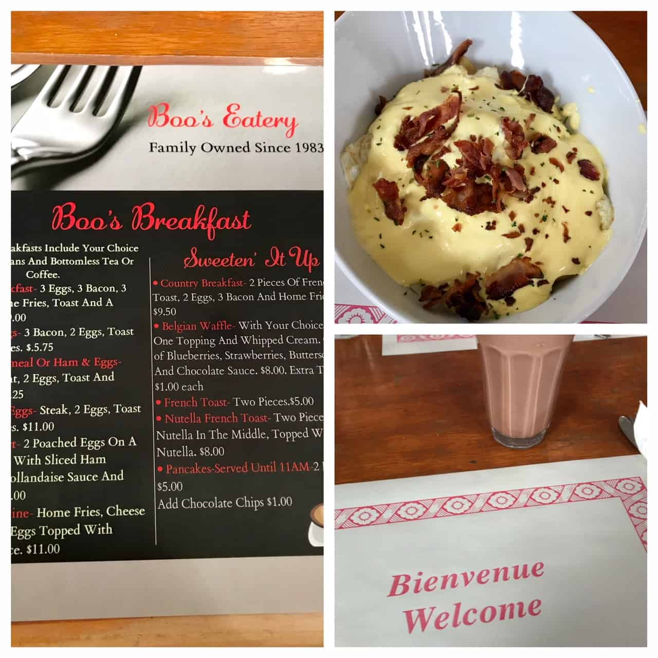 Collage of images from Boo's eatery