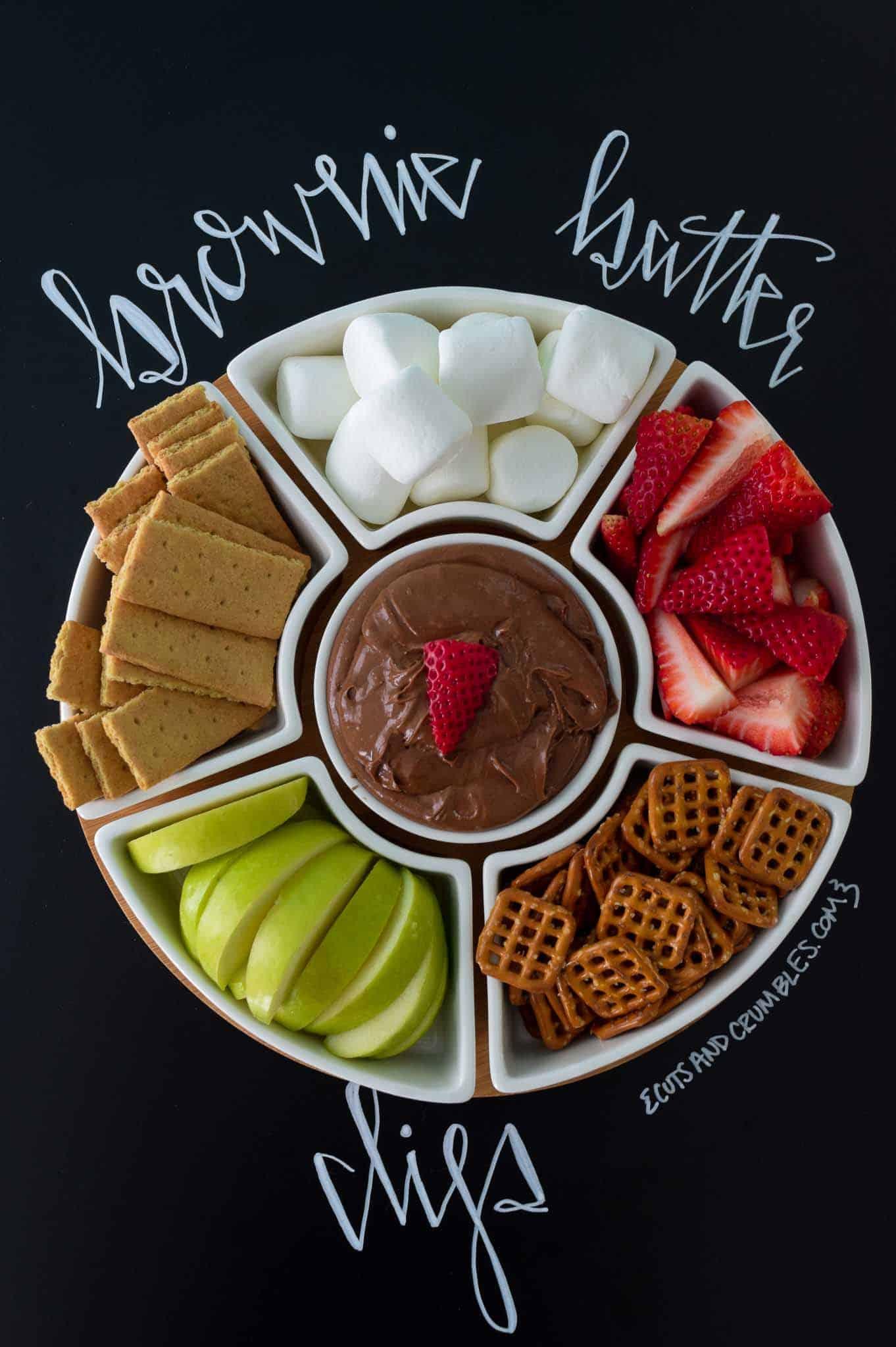Brownie Batter Dip with title written on chalkboard