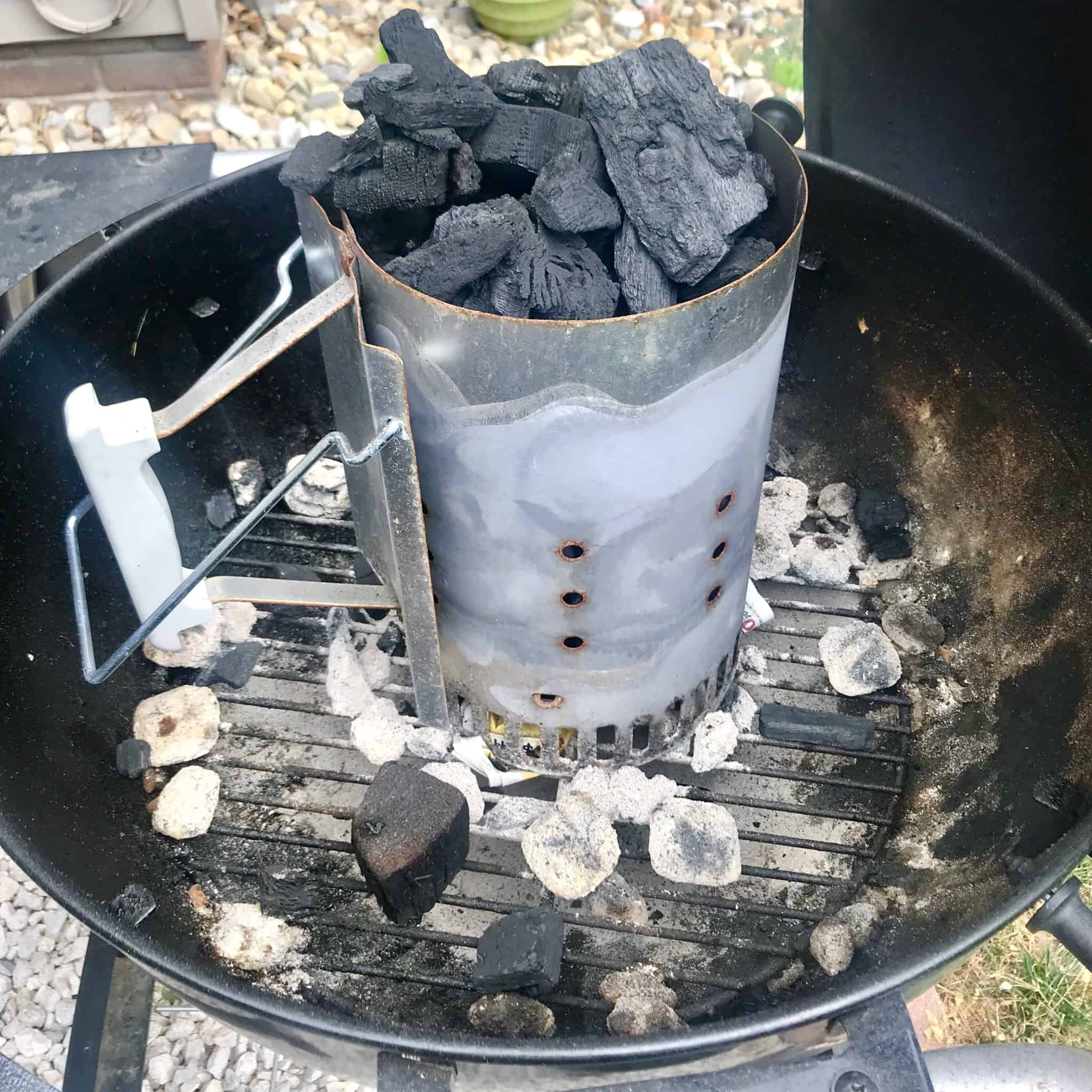 Charcoal chimney on weber grill