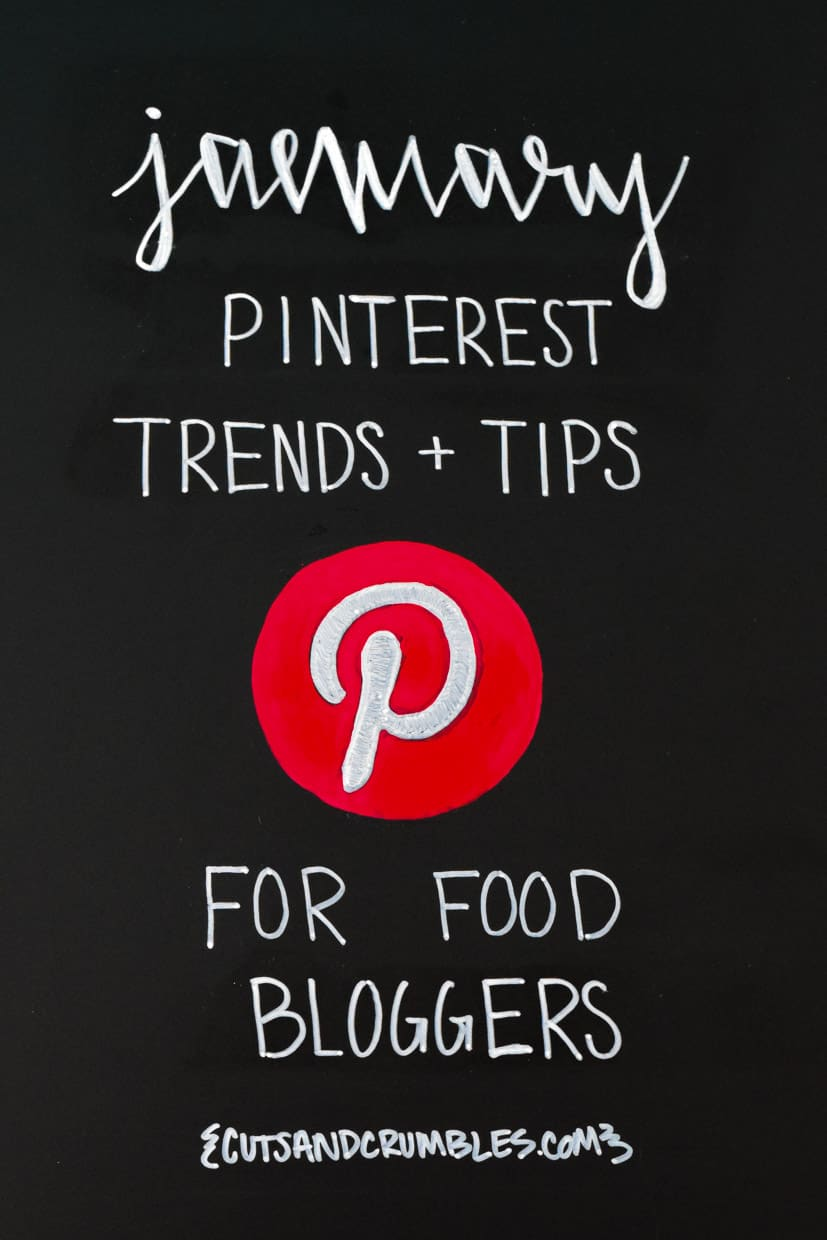 January PInterest Trends and Tips for Food Bloggers written on chalkboard