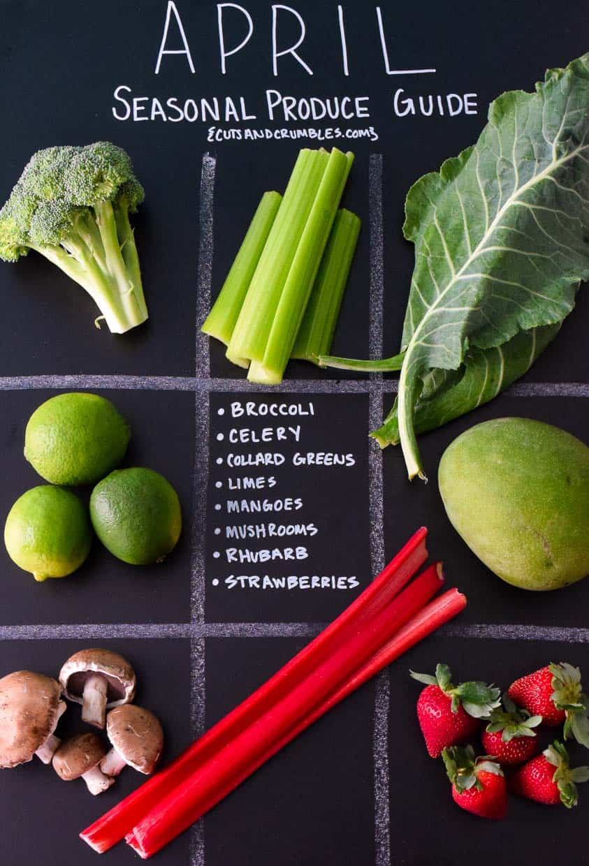 April Seasonal Produce Guide with produce in each quadrant on chalkboard