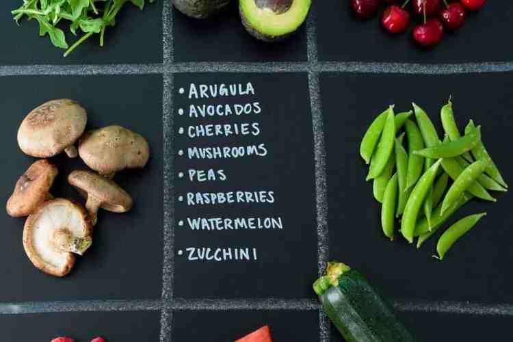June Seasonal Produce Guide with produce in quadrants on chalkboard