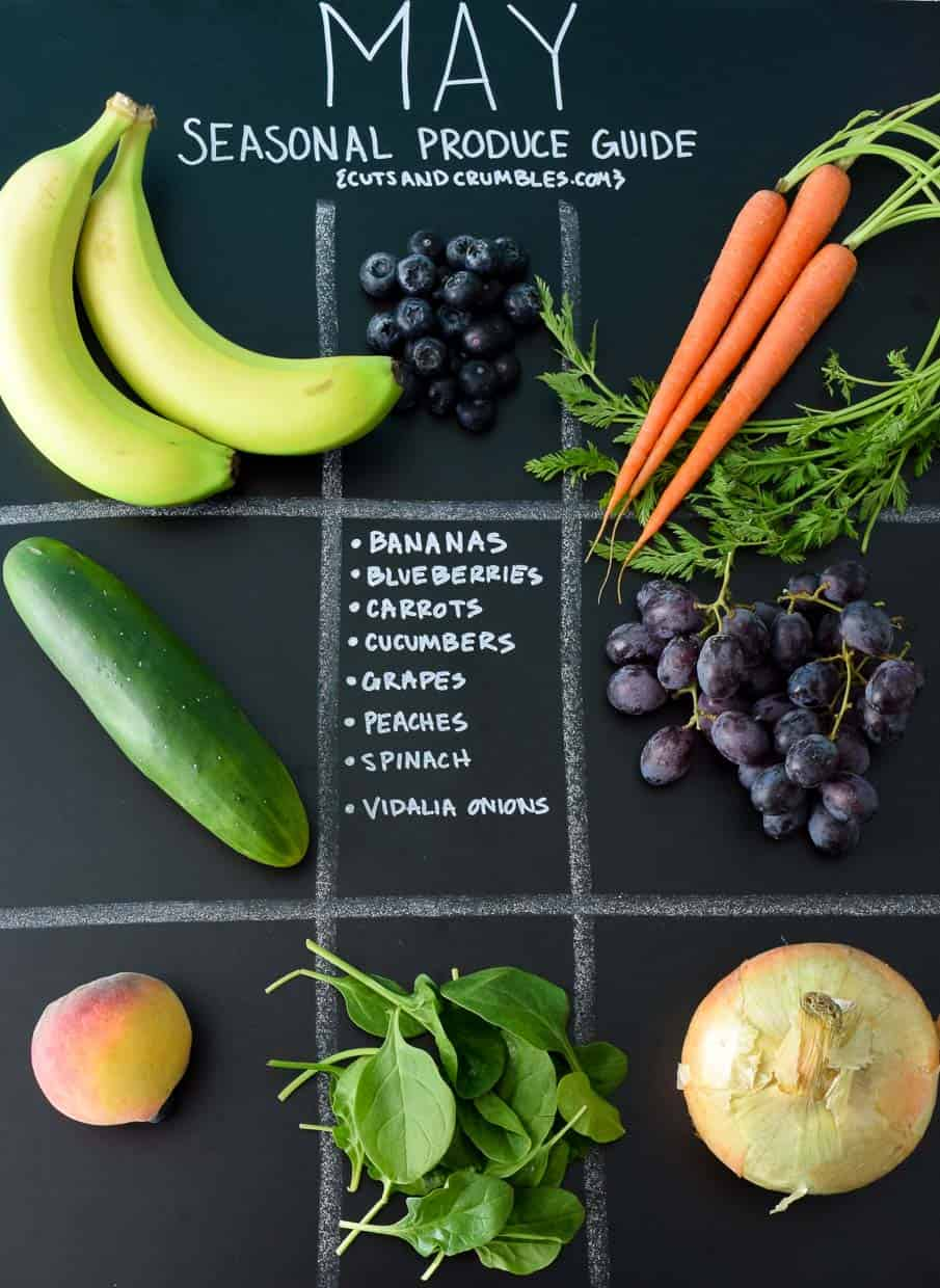 May Seasonal Produce Guide with produce in quadrants on black chalkboard