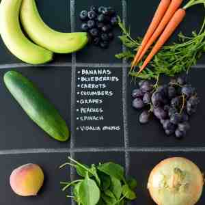 May Seasonal Produce Guide with produce in quadrants on chalkboard