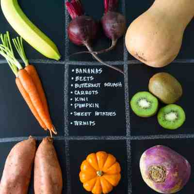 November Seasonal Produce Guide with produce in quadrants on chalkboard