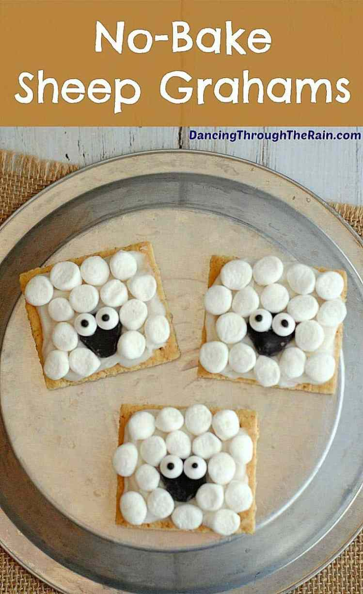 graham crackers decorated with marshmallows like sheep