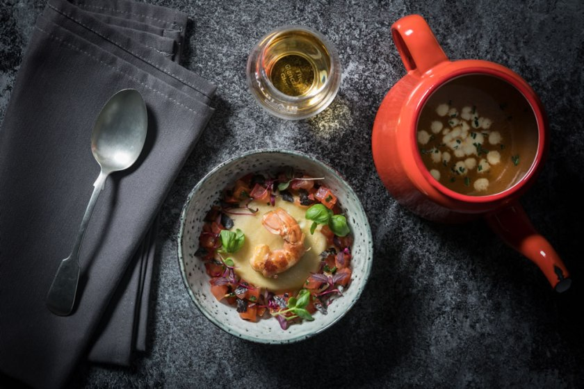 Ham & Langoustine, Balblair -Pea Ravioli, Dulse Seaweed Shellfish Broth