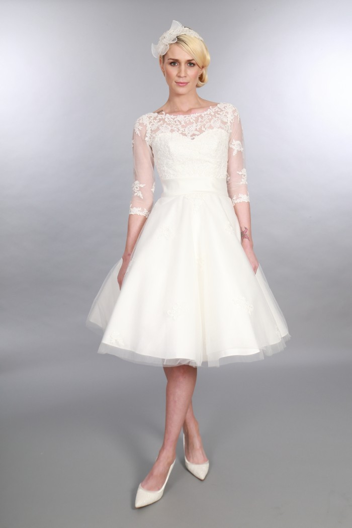 25 Of The Most Beautiful Tea Length Short Wedding Dresses With Sleeves  Cutting Edge Brides