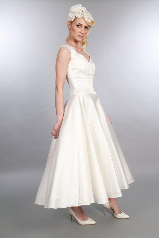 Ivy Tea length 1950s vintage style wedding dress with