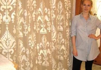 Stenciled Drop Cloth Curtains Stencil Stories