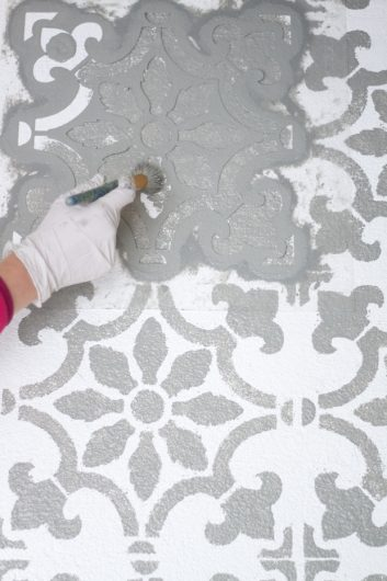 Add Pattern To Your Patio Using A Tile Stencil