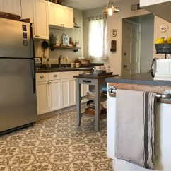Tiled Kitchen Floors Back Splash Ideas For Jazz Up An Old Floor With A Tile Stencil Diy Stenciled And Painted Linoleum Using The Abbey From Cutting Edge