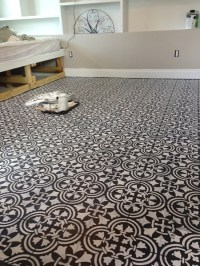 Stenciling A Guest Bedroom Floor With A Tile Pattern