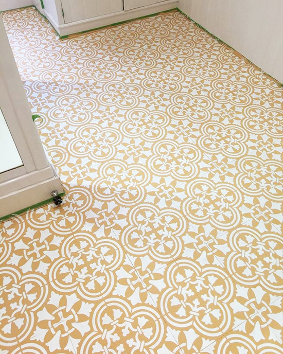 Stencils Give An Old Vinyl Floor A Budget Friendly New Look