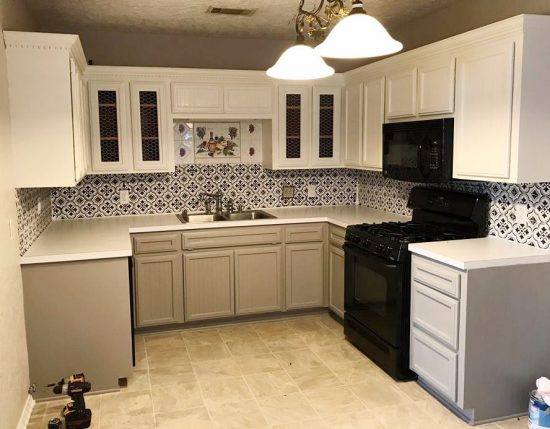 cement tile kitchen design your own lowes stencils add style and drama to a backsplash