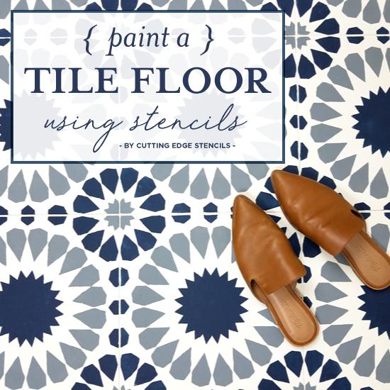 Paint A Tile Floor Using Stencils
