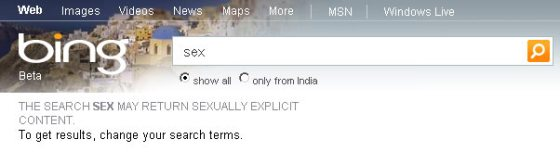 Bing India sex search