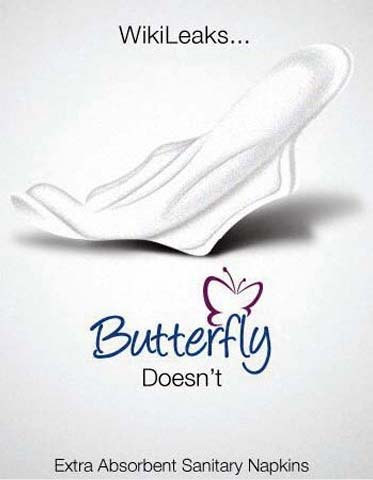 WikiLeaks Butterfly Sanitary Napkins Ad