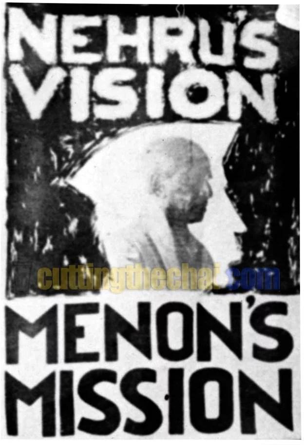 VK Krishna Menon's 'Nehru's vision, Menon's mission' election poster from 1967
