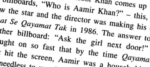 'Who is Aamir Khan?' asked an ad prior to 'Qayamat Se Qayamat Tak' release
