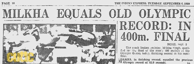 Milkha equals old Olympic record: In 400m final