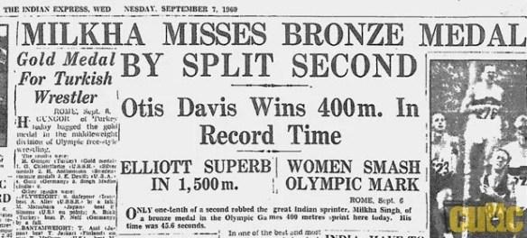 Milkha misses bronze medal by split second