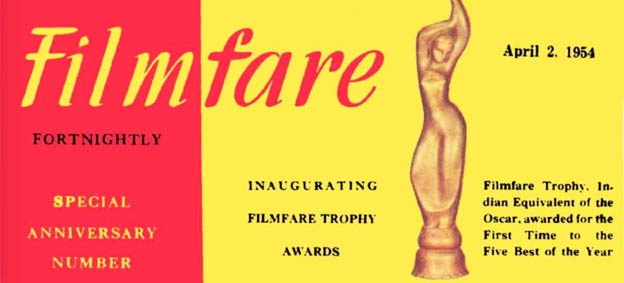 Filmfare magazine cover dated April 2, 1954 featuring the first Filmfare Award winners