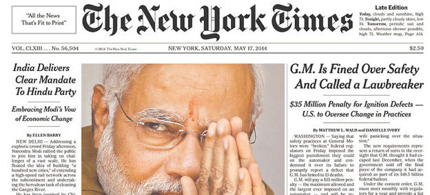 25 world newspaper front pages with Narendra Modi and BJP's victory headlines