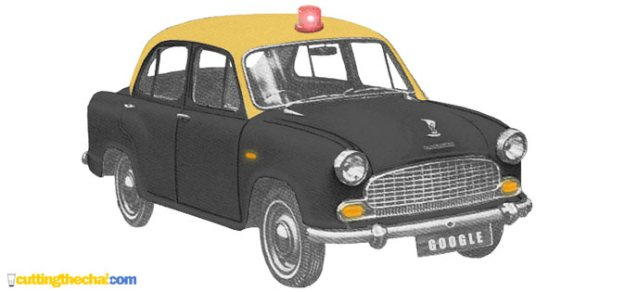 Ambassador local taxi with red beacon