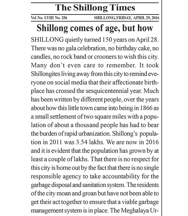 Shillong Times editorial on 150 years of Shillong