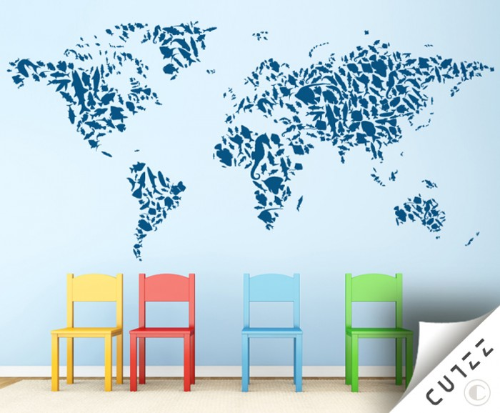 World Map And Aquatic Animals Wall Decal