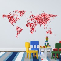Wall Decal Fish Patterned Map Of The World - Cutzz