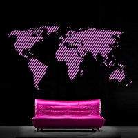Vinyl Wall Sticker Map Of the World Continents - Cutzz
