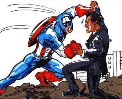 Captain America, eroul unei populare benzi de desene animate transpuse in filme, in lupa cu oligarhii