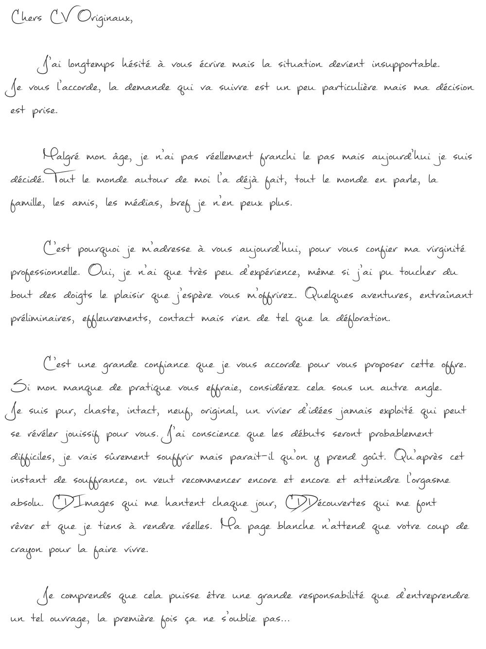 lettre de motivation et cv envoye par mail