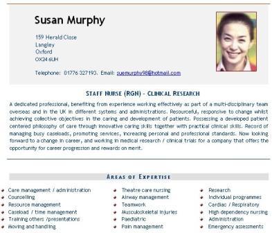 Nursing CV example nurses doctors Curriculum Vitae CV