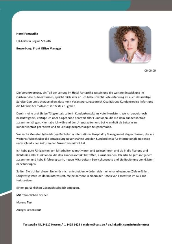 Front Office Manager mw  CV  Bewerbung