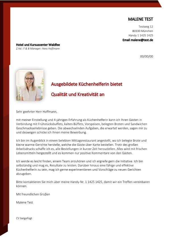 Ungelernte Kchenhilfe mw  CV  Bewerbung
