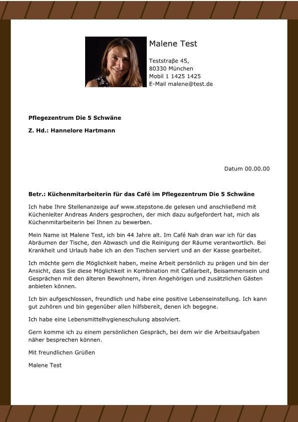 Kchenmitarbeiter mw fr Cafe im Pflegezentrum  CV  Bewerbung