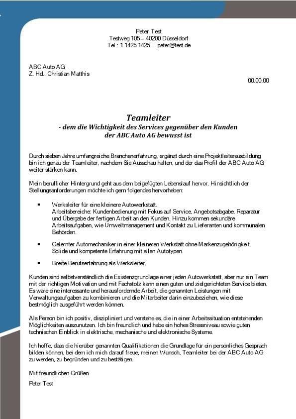 Teamleiter mw Service Autowerkstatt  CV  Bewerbung