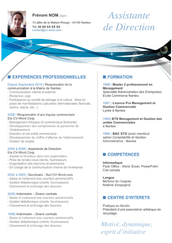 exemple cv assistant de direction modele exemple de lettre