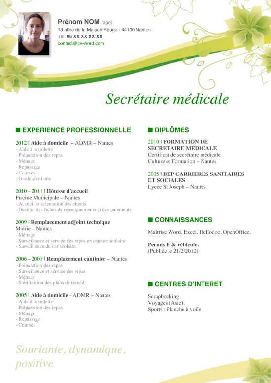 modele cv gratuit a telecharger word secretaire medicale