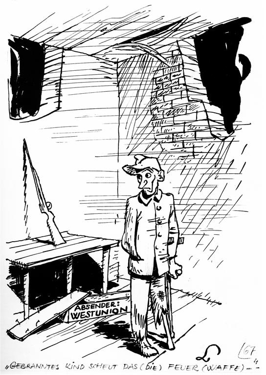 Cartoon by Lang on the question of German rearmament (18
