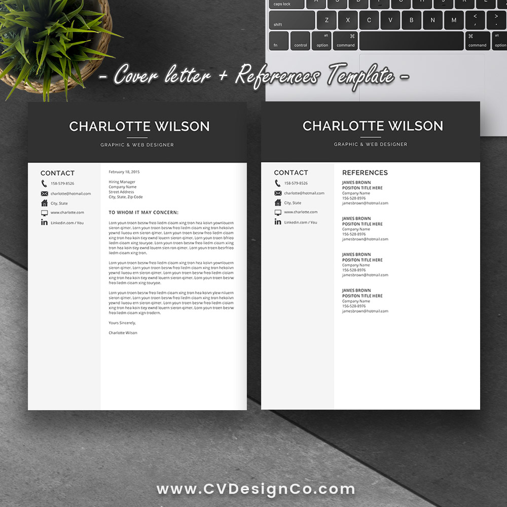 Best Selling Office Word Resume / Cv Templates, Cover Letter, References  For Digital Instant Download: The Charlotte Resume