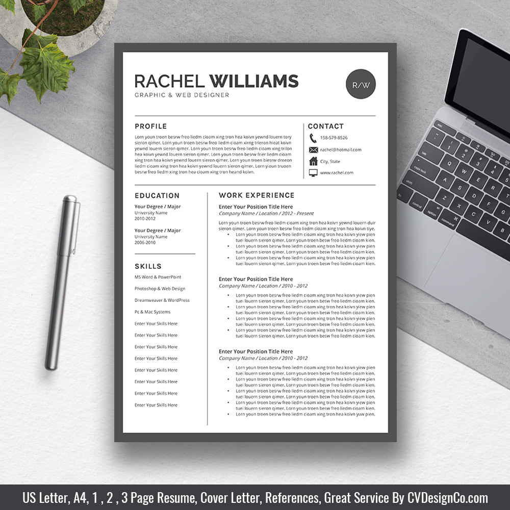 2019 Best Selling Office Word Resume  CV Templates Cover